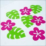 Tropical Flowers And Palm Leaves Luau Table Decorations