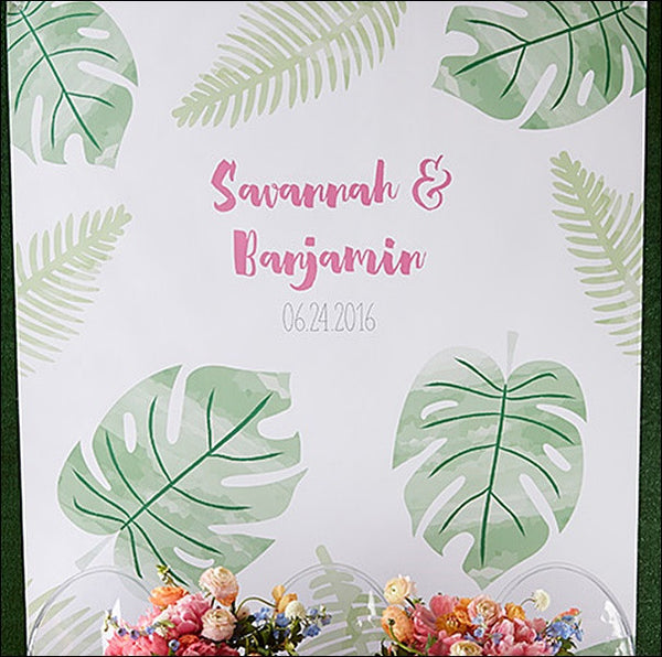 Tropical Palm Leaves Personalized Party Photo Backdrop