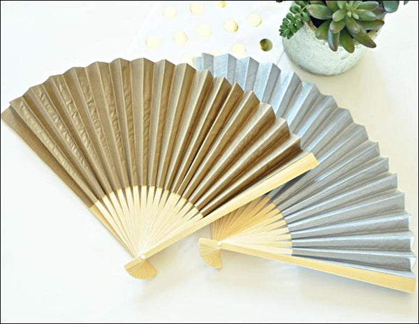 Decorative Wedding Paper Fans Choice Of Colors Set Of 12