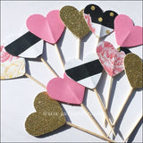 Pink Peonies And Gold Glitter Hearts Cupcake Toppers