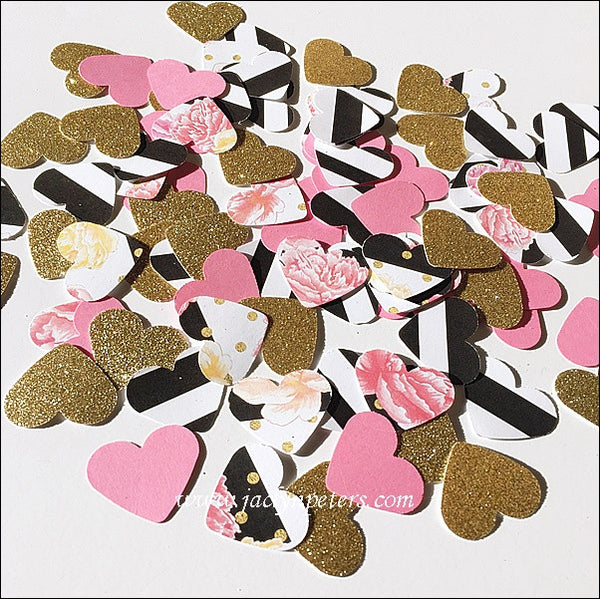 Heart Party Confetti In Peonies, Stripes & Gold