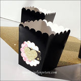 Gold Glitter Hearts & Peonies Bridal Shower Popcorn Box Favors