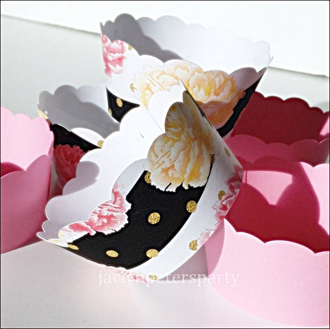 Pink Peonies And Black Stripes Cupcake Wrappers Set Of 12