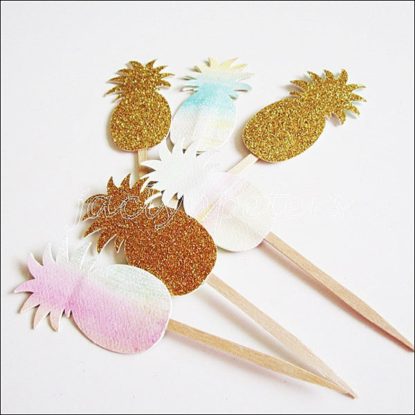 Gold Pineapple Cupcake Toppers - Jaclyn Peters Designs - 1