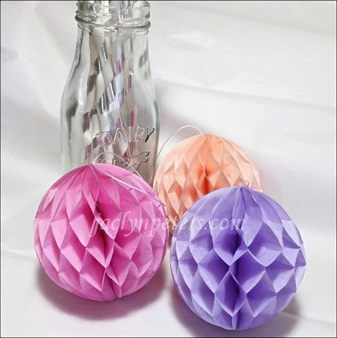 Decorative Mini Honeycomb Balls In Pink, Peach And Lavender