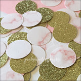 Pink Marble And Gold Glitter Party Confetti