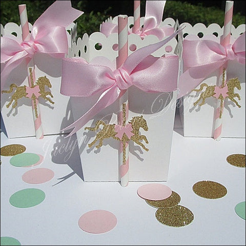Pink And Gold Carousel Party Favor Boxes - Jaclyn Peters Designs - 1