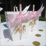 Pink And Gold Carousel Party Favor Boxes - Jaclyn Peters Designs - 2