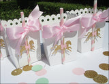 Pink And Gold Carousel Party Favor Boxes - Jaclyn Peters Designs - 3