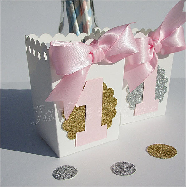 Girls First Birthday Popcorn Favor Boxes - Jaclyn Peters Designs - 1