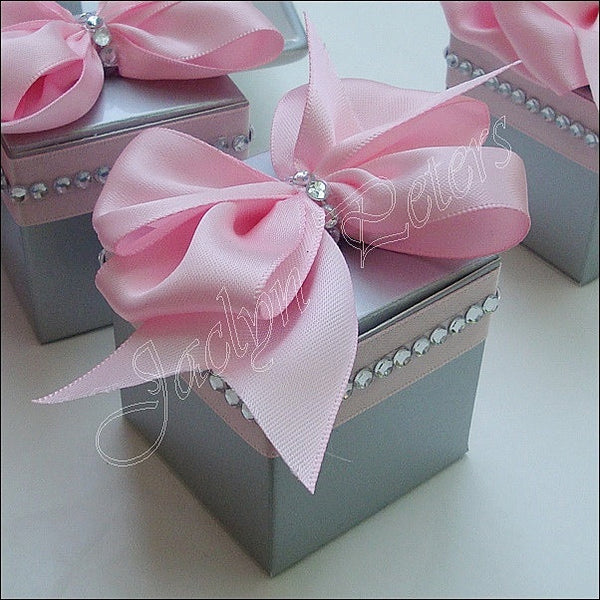 Pink And Silver Wedding Favor Boxes With Bows And Rhinestones - Jaclyn Peters Designs - 1