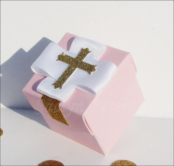 Pink & Gold Glitter Cross Favor Box - Jaclyn Peters Designs - 1