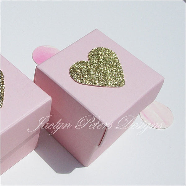 Pink And Gold Glitter Heart Two Piece Favor Boxes - Jaclyn Peters Designs - 1