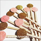 Pink & Gold Glitter Swizzle Sticks - Jaclyn Peters Designs - 2