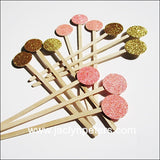 Pink & Gold Glitter Swizzle Sticks - Jaclyn Peters Designs - 1
