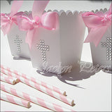 Girls Baptism Rhinestone Cross Popcorn Favor Boxes With Bow - Jaclyn Peters Designs - 1