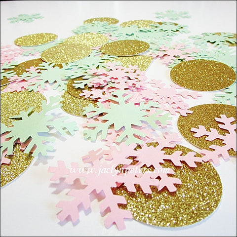 Pink, Mint & Gold Snowflake Confetti - Jaclyn Peters Designs - 1