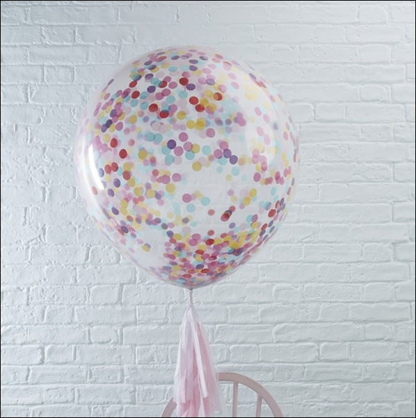 "Clear Jumbo 36"" Rainbow Confetti Filled Balloon"