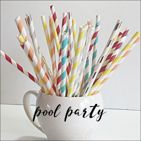 Beach Ball Theme Pool Party Straw Mix Set Of 50