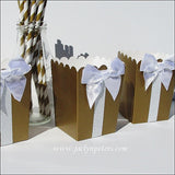 Gold And White Glitter Popcorn Boxes - Jaclyn Peters Designs - 3