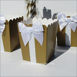 Gold And White Glitter Popcorn Boxes - Jaclyn Peters Designs - 4