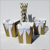 Gold And White Glitter Popcorn Boxes - Jaclyn Peters Designs - 1