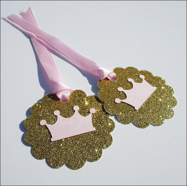 Pink & Gold Princess Crown Favor Tags - Jaclyn Peters Designs - 1
