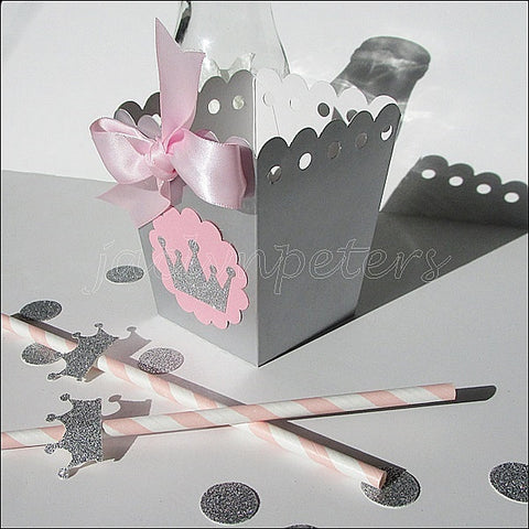 Pink & Silver Princess Popcorn Boxes - Jaclyn Peters Designs - 1