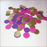 Purple, Hot Pink And Gold Glitter Party Confetti