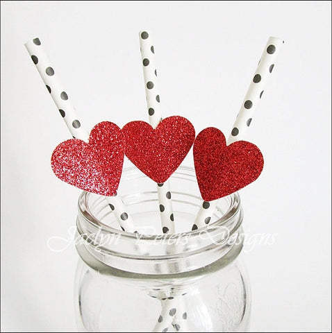 Glitter Heart Dots Party Straws - Jaclyn Peters Designs - 1