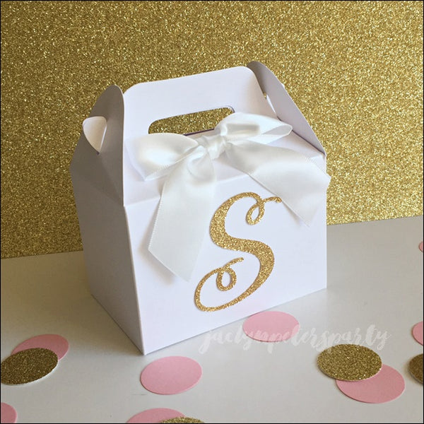Personalized Gold Glitter Initial Mini Gable Party Favor Boxes