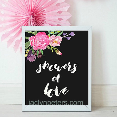 Showers Of Love Boho Printable Bridal Shower Sign - Instant Download