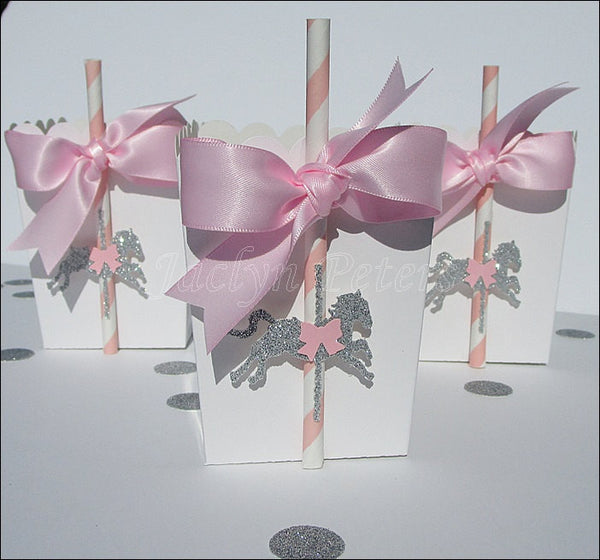 Carousel Party Favors Pink & Silver Glitter - Jaclyn Peters Designs - 1