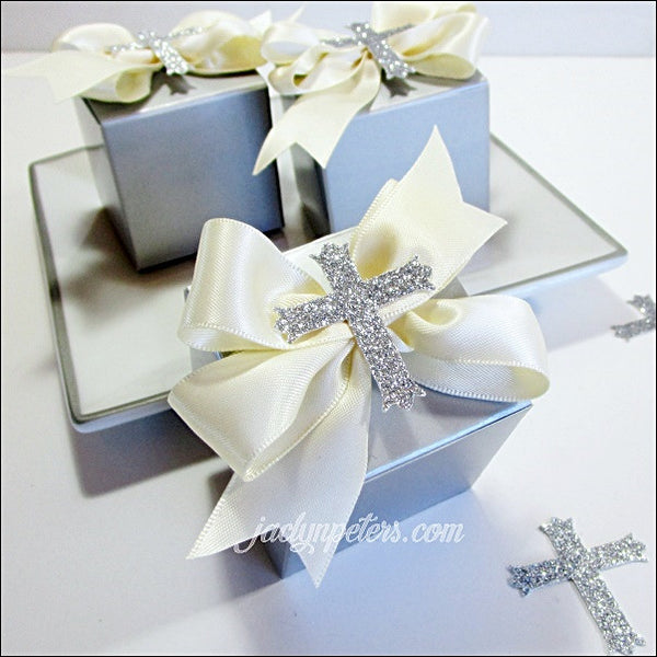 Silver Communion Favor Boxes With Glitter Cross