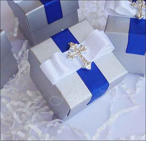 Boys Silver Communion Favor Boxes - Jaclyn Peters Designs - 1