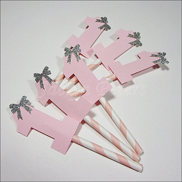 Pink & Silver Number One Cupcake Toppers - Jaclyn Peters Designs - 1