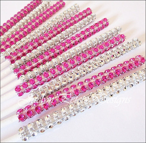 Fuschia & Silver Rhinestone Cake Pop Sticks - Jaclyn Peters Designs - 1