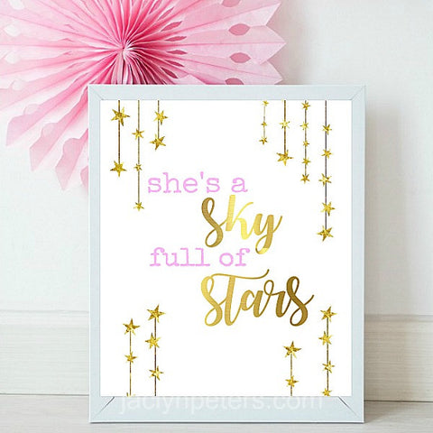 She's A Sky Full Of Stars Printable Party Sign - Instant Download