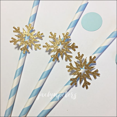 Baby Blue & Gold Glitter Snowflake Party Straws Set Of 12