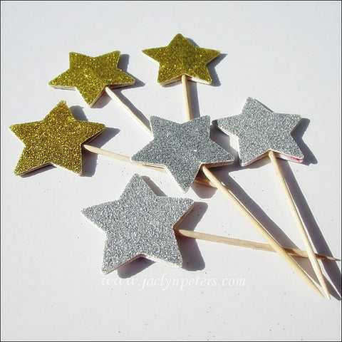 Gold Or Silver Double Sided Glitter Star Cupcake Toppers