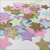 Pastel Rainbow And Gold Glitter Stars Party Confetti