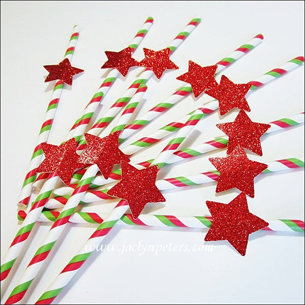 Red Glitter Star Christmas Straws - Jaclyn Peters Designs - 1
