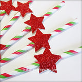 Red Glitter Star Christmas Straws - Jaclyn Peters Designs - 2