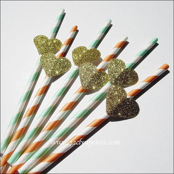Peach & Mint Gold Glitter Heart Straws - Jaclyn Peters Designs - 1