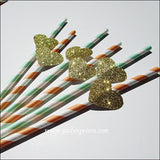 Peach & Mint Gold Glitter Heart Straws - Jaclyn Peters Designs - 2