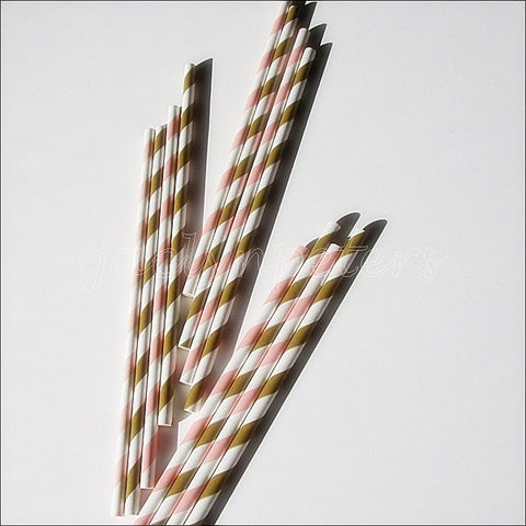Pink & Gold Stripe Party Straws - Jaclyn Peters Designs - 1