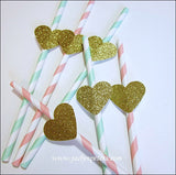 Blush & Mint Gold Glitter Heart Straws - Jaclyn Peters Designs - 2
