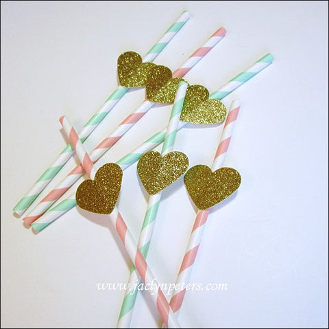 Blush & Mint Gold Glitter Heart Straws - Jaclyn Peters Designs - 1