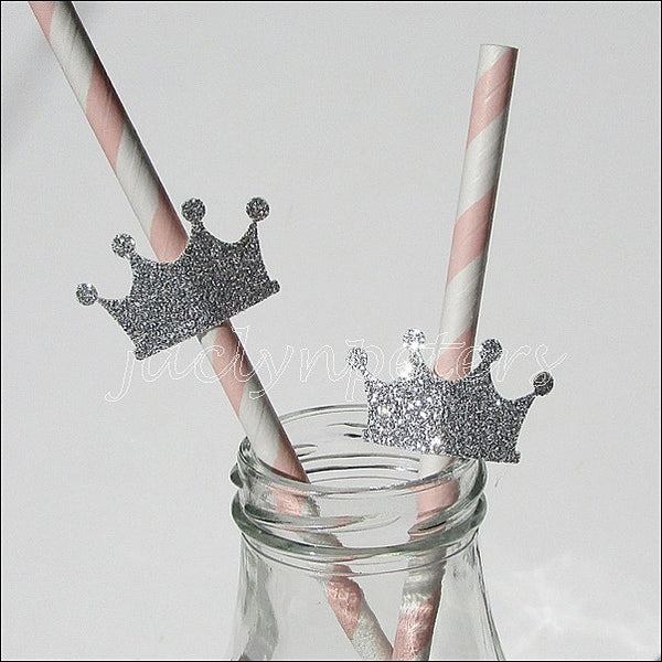 Pink & Silver Glitter Princess Straws - Jaclyn Peters Designs - 1