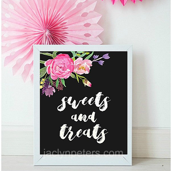 Sweets And Treats Boho Dessert Table Sign Printable - Instant Download